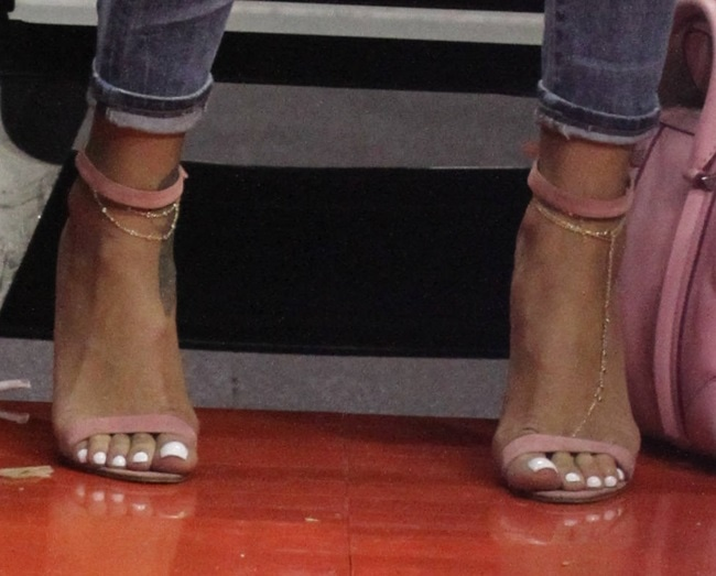Rihanna's hot toes in Manolo Blahnik shoes