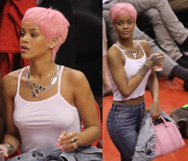 Rihanna with pink hair in skinny jeans