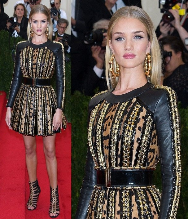 Rosie Huntington-Whiteley wearing Balmain from head to toe at the 2014 Met Gala held at the Metropolitan Museum of Art in New York City on May 5, 2014