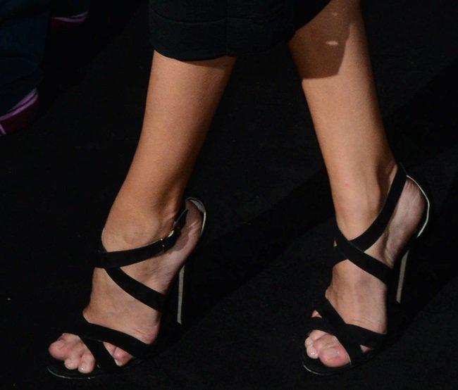 Rosie Huntington-Whiteley rocking crisscross high-heeled 'Xenia' sandals from Jimmy Choo