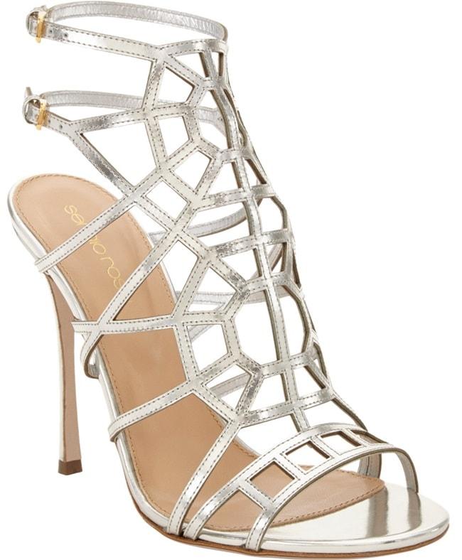 """Sergio Rossi """"Puzzle"""" Sandals in Silver"""