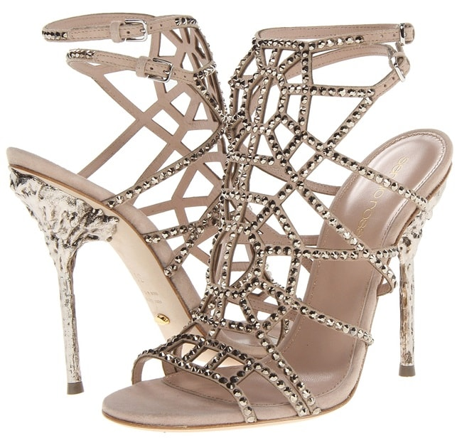 "Sergio Rossi ""Puzzle"" Evening Sandals in Nude"