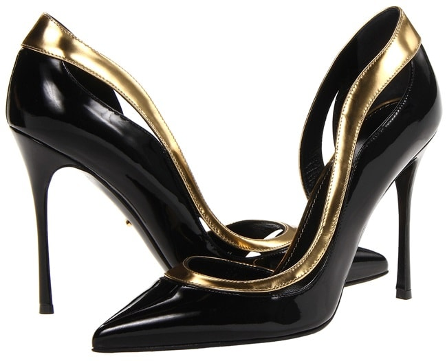 "Sergio Rossi ""Yin & Yang"" D'Orsay Pumps in Black/Gold"