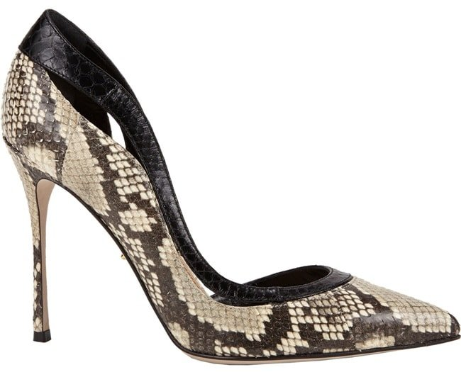 "Sergio Rossi ""Yin & Yang"" D'Orsay Pumps in Black/White Snake"