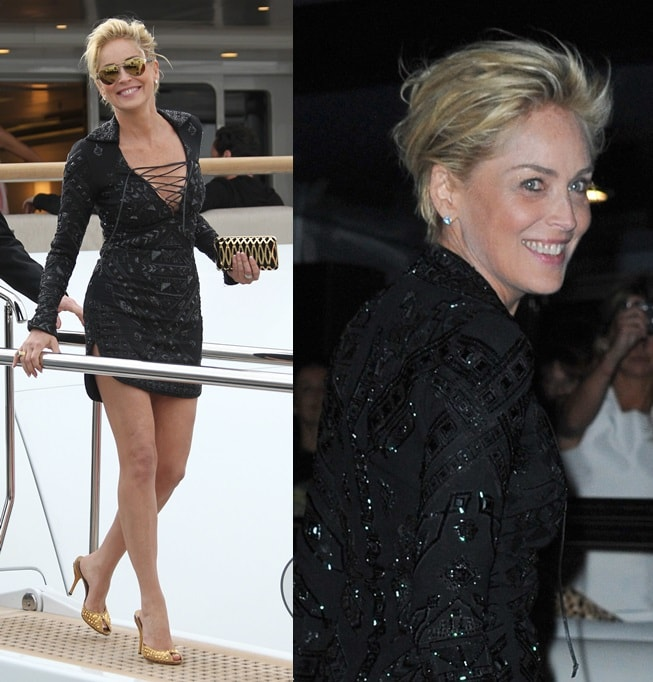 Sharon Stone looking stunning in black and gold as she heads to a boat party hosted by Roberto Cavalli during the Cannes Film Festival in France on May 21, 2014