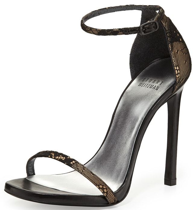 "Stuart Weitzman ""Nudist"" Sandals in Black Lace"