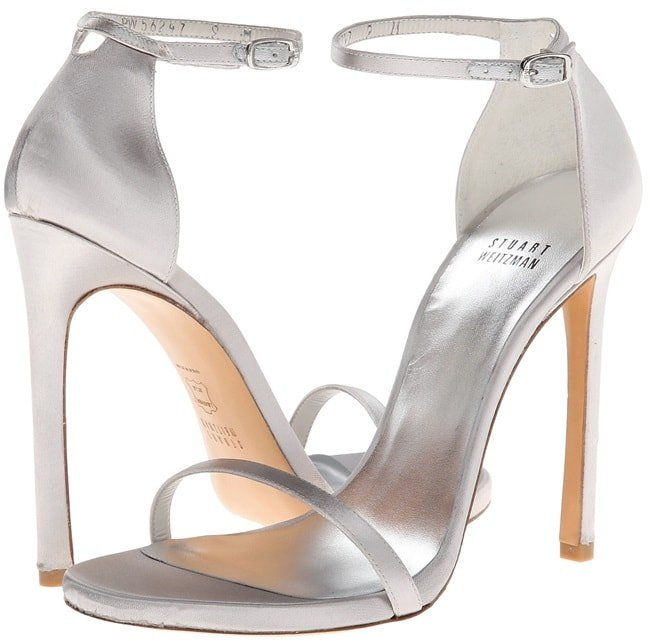 "Stuart Weitzman ""Nudist"" Sandals in Silver Satin"
