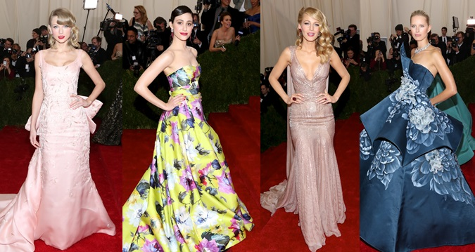 Taylor Swift, Emmy Rossum, Blake Lively, and Karolina Kurkova scoring high fashion-wise on the red carpet of the 2014 Met Gala <em>held at the Metropolitan Museum of Art in New York City on May 5, 2014