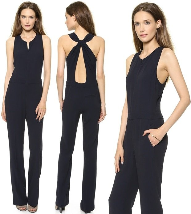 Ruched panels frame the sultry open back on this straight-leg A.L.C. jumpsuit.