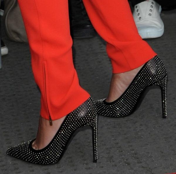 Cheryl Cole's feet inSaint Laurent 'Paris' studded pumps