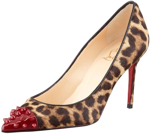 Christian Louboutin Brown Geo Spiketoe Leopard Calf Hair Red Sole Pump