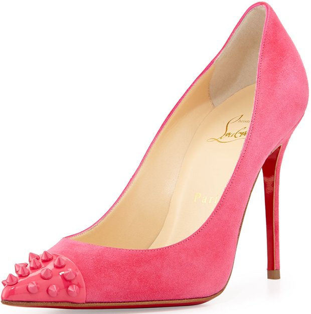 Christian Louboutin Geo Spike Pointtoe Red Sole Pump Pink