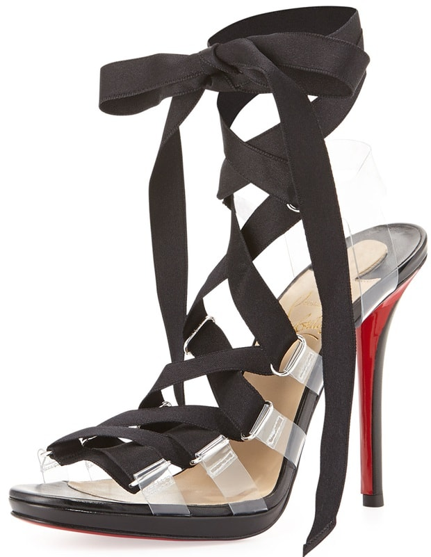 Christian Louboutin Nymphette Satin Lace-Up Red Sole Sandal