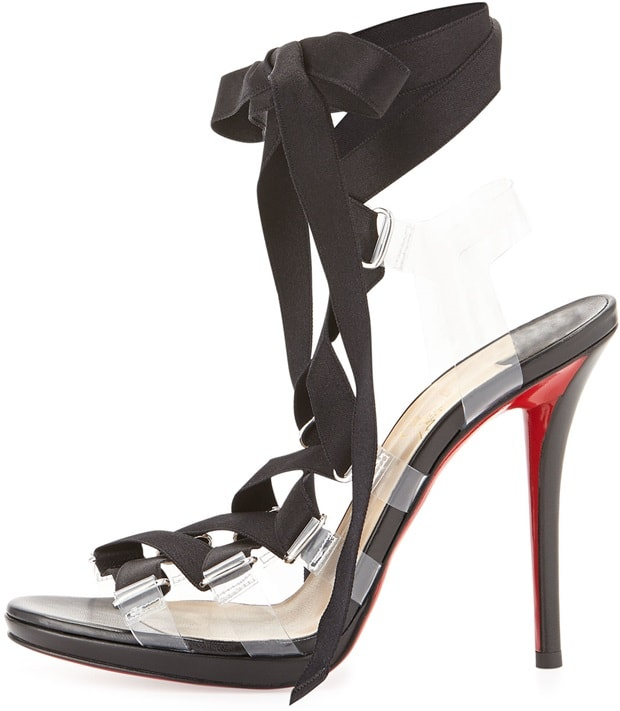 Christian Louboutin Nymphette Satin Lace-Up Sandal