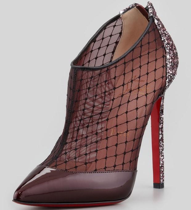 Christian Louboutin Red Fillette Patentmesh Glitterheel Bootie