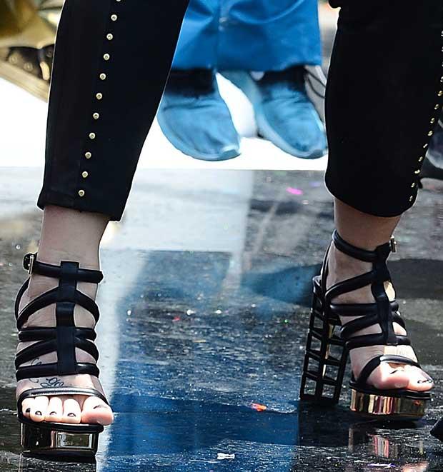 Demi Lovato wearing Gianmarco Lorenzi sandals