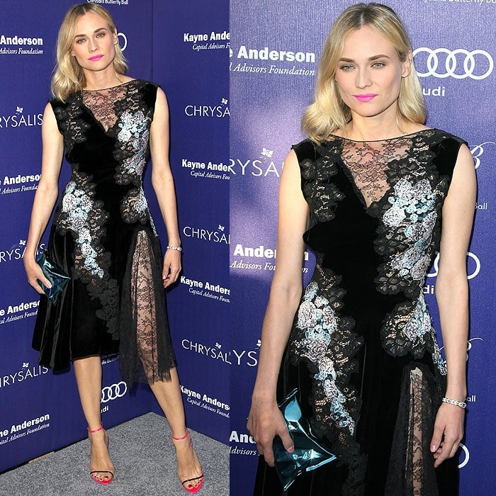 "Diane Kruger wearing a Nina Ricci fall 2014 lace-and-velvet dress, Dior slim-strap sandals, and carrying an Anya Hindmarch ""Crisp Packet"" clutch"