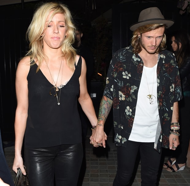 Ellie Goulding and Dougie Poynter at the Chiltern Firehouse in London, England, on June 24, 2014