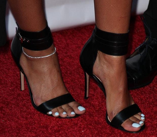 Eniko Parrish wearing Gianvito Rossi sandals