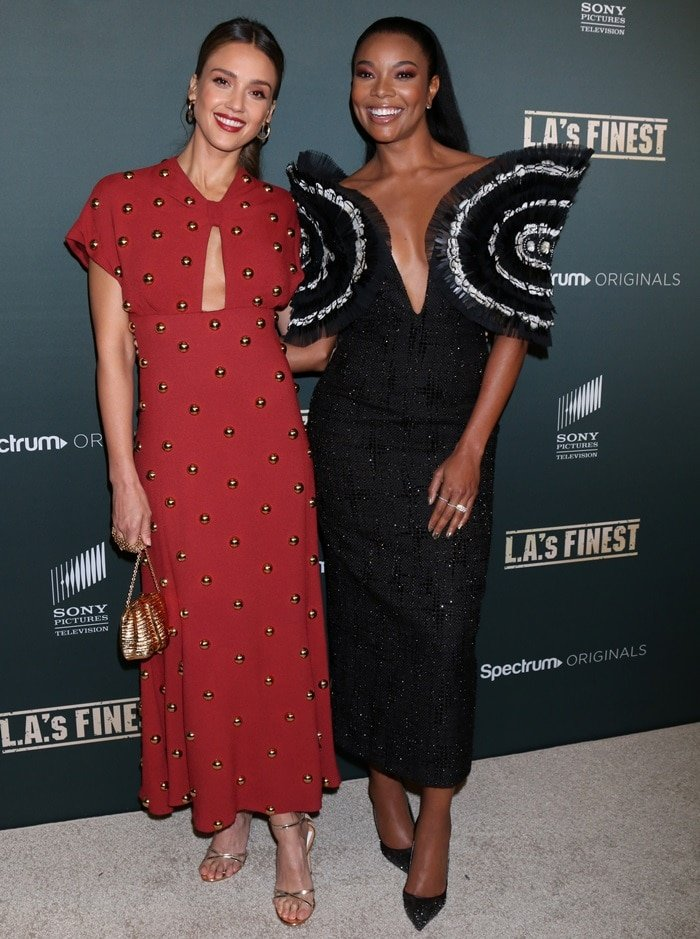 Gabrielle Union and Jessica Alba at the premiere of L.A.'s Finest