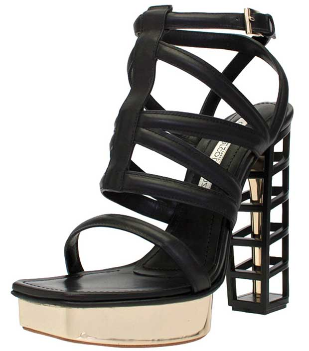 Gianmarco Lorenzi Strappy Cage Sandals in Black/Gold
