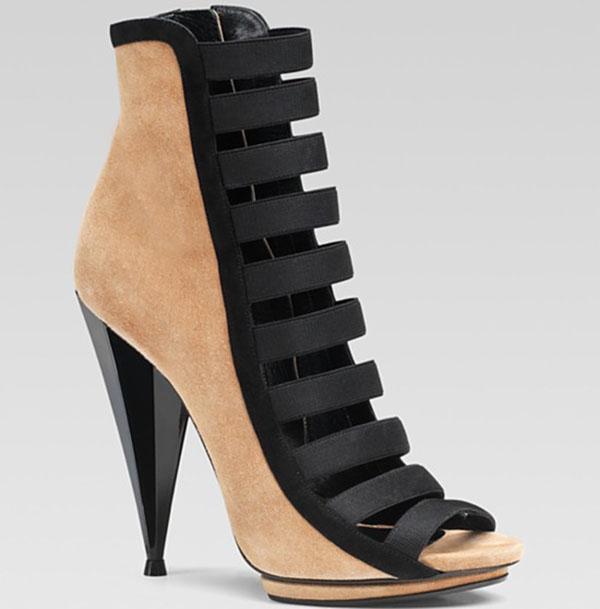 """Gucci """"Olimpia"""" High-Heel Bootiesin Tan/Black"""