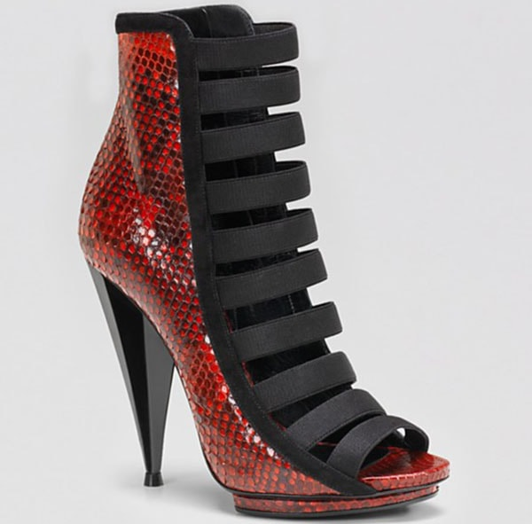 """Red Python Gucci """"Olimpia"""" High-Heel Booties"""