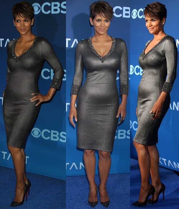 Actress Halle Berry flaunted her legs in a gunmetal gray dress