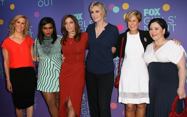 """Heather Kadin, Mindy Kaling, Chelsea Peretti, Jane Lynch, Yeardley Smith, and Alex Borstein at FOX's """"Girls Night Out"""" Q&A and Champagne Bar Reception held at the Leonard H. Goldenson Theater in North Hollywood on June 9, 2014"""