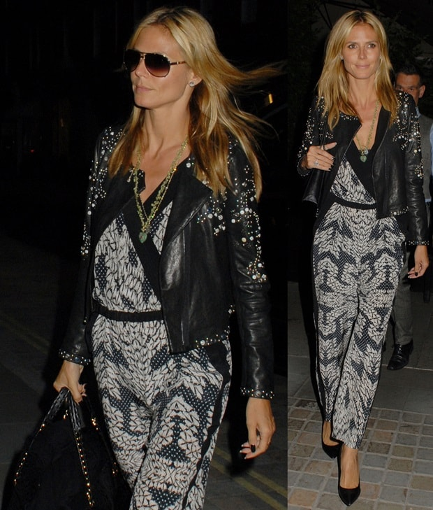 Heidi Klum sported a panther-print silk jumpsuit by Diane von Furstenberg paired with a cool studded leather jacket