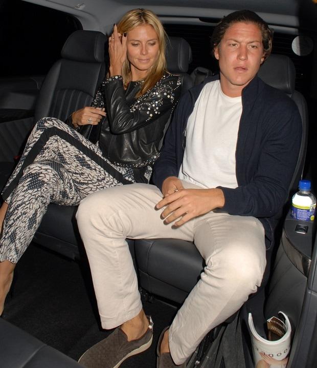 Heidi Klum and Vito Schnabel visiting Chiltern Firehouse restaurant in Marylebone, England, on June 22, 2014