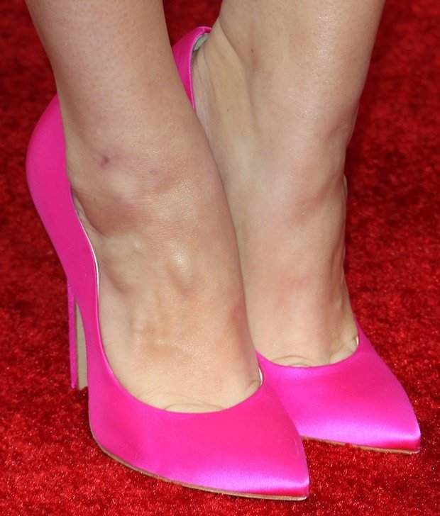 Holland Roden wearing fuchsia Brian Atwood 'Besame' silk/satin pumps