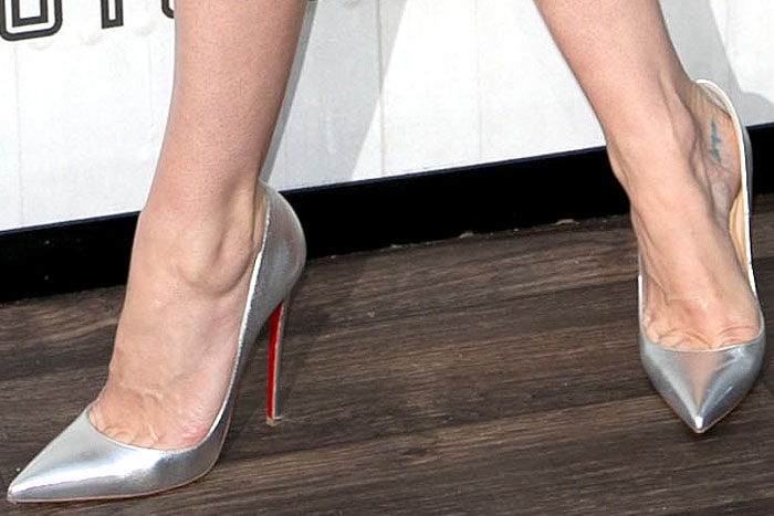 Jaime King silver Louboutin So Kate pumps