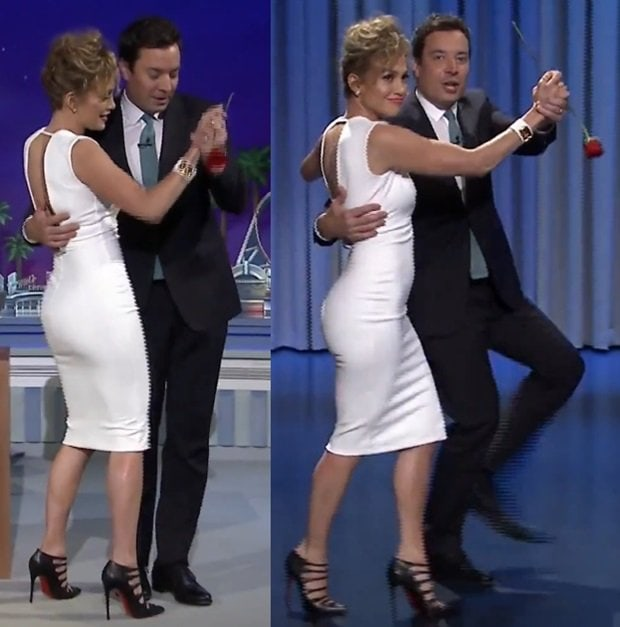 We could not see Jennifer's feet while she was sitting down, but luckily, Jimmy invited her up to dance