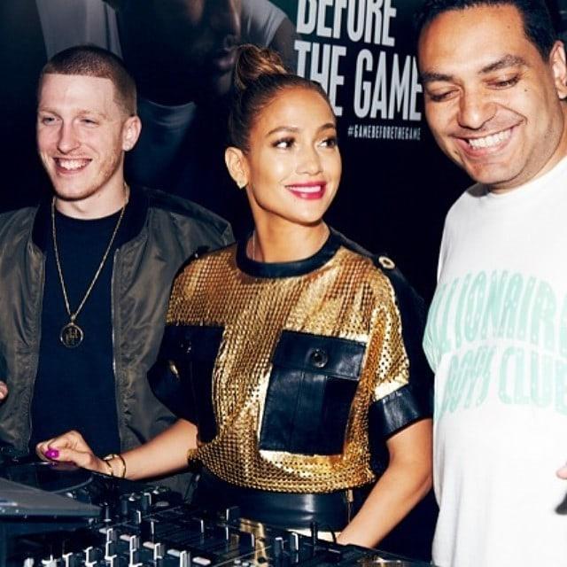 Jennifer Lopez black and gold leather dress 1