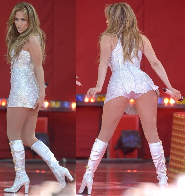 Jennifer Lopez rockedVersus Versace Swarovski crystal boots