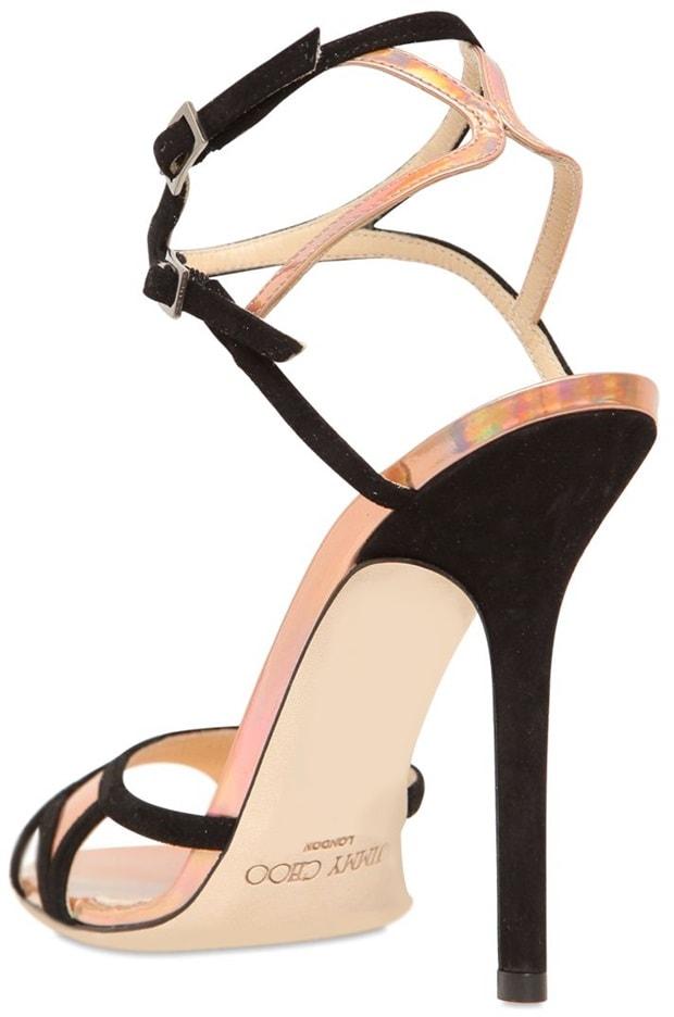 Pink 110 Rumba Suede Iridescent PVC Sandals