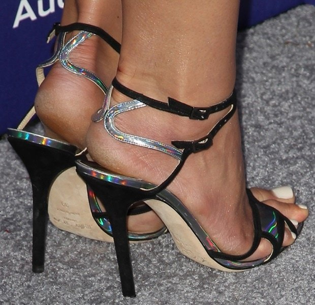 Jordana Brewster showing off her hot feet in Jimmy Choo heels