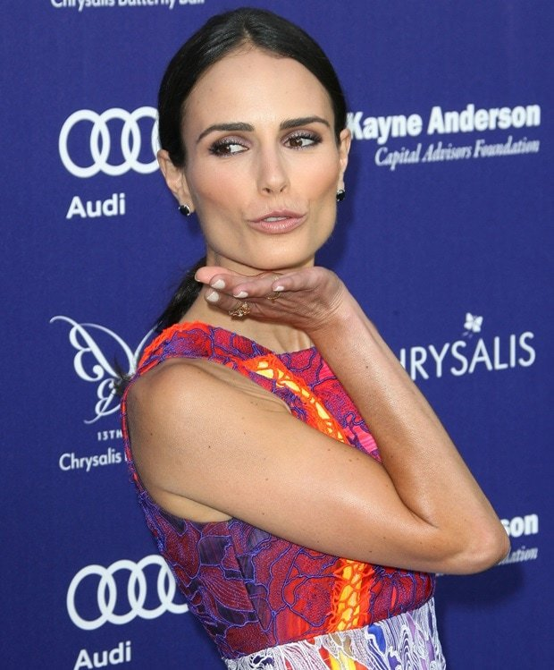 Jordana Brewster donned an embroidered floral-lace silk dress from the Peter Pilotto Spring 2014 collection