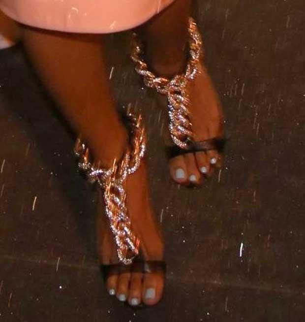 Karrueche Tran wearing Giuseppe Zanotti sandals