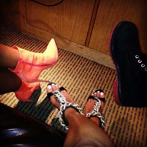 Karrueche Tran wore a pair of striking sandals by Giuseppe Zanotti