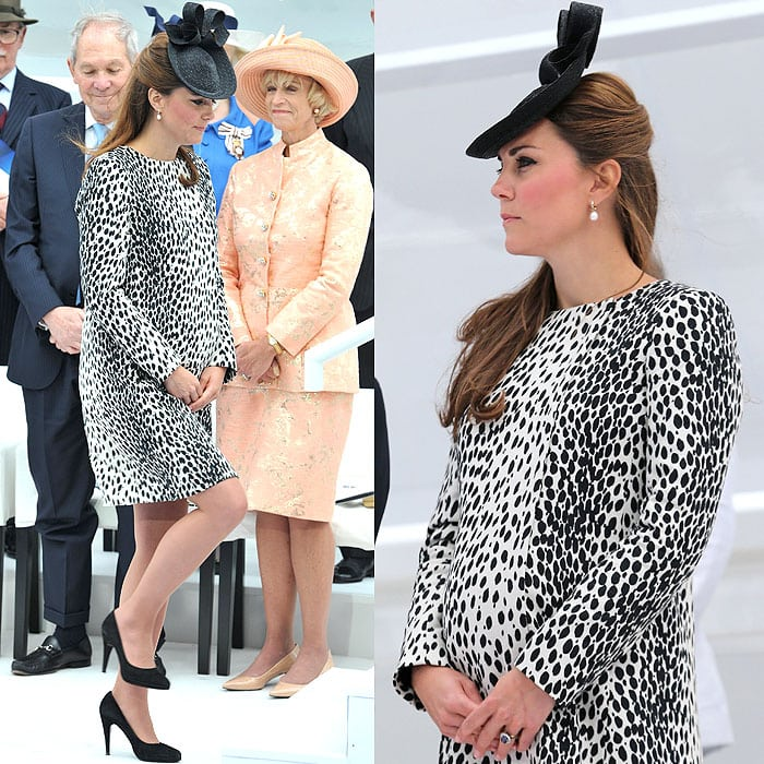 Right before Catherine, the Duchess of Cambridge, gave birth to Prince George, she and her nearly nine-month baby bump had to attend one last engagement in black suede heels