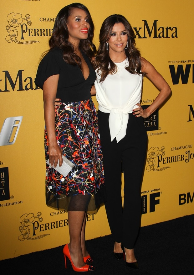 Kerry Washington and Eva Longoria at the Women in Film 2014 Crystal + Lucy Awards held at the Hyatt Regency Century Plaza in Century City, Los Angeles, on June 11, 2014