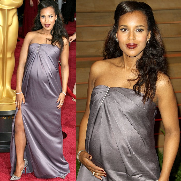 Pregnant Kerry Washington pregnant heels at the 2014 Oscars in Los Angeles, California, on March 2, 2014
