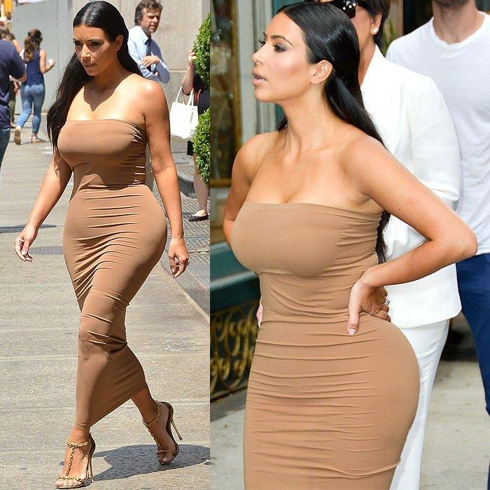 Kim Kardashian looked ready to explode in atight tube dress