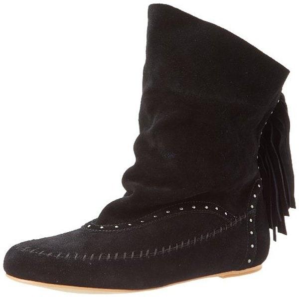 Koolaburra Becca Fringe Slouch Boots in Black