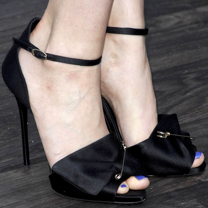 Giuseppe Zanotti safety-pinned satin sandals on Lauren Cohan