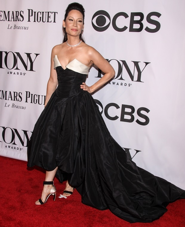 Lucy Liu donned a black-and-ivory strapless tuxedo-inspired dress by Vivienne Westwood