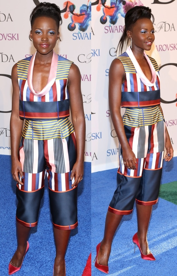 Lupita Nyong'o donned a Suno cropped top featuring a plunging neckline