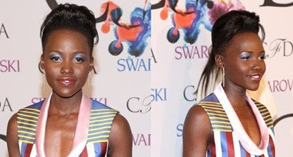 """4183bdea9e6 Lupita Nyong o in Striped Suno Outfit and Sophia Webster """"Coco"""" Satin Pumps"""